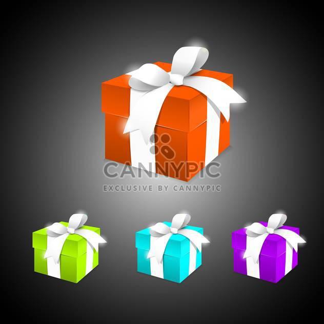 Vektor-Satz der bunten Geschenkboxen auf schwarzem Hintergrund - Kostenloses vector #129659