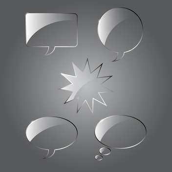 Vector set of realistic glass speech bubbles on gray background - vector gratuit #129689