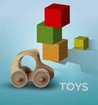 Vector illustration of children toys on blue background - Free vector #129719