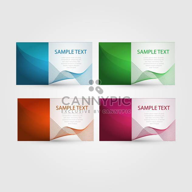 Vector set of abstract stylish bright colorful business cards with wavy design - Free vector #129759