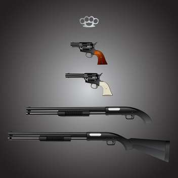 Vector set of weapons arsenal on gray background - Free vector #129769
