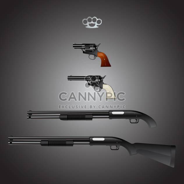 Vektor Waffen Arsenal auf grauem Hintergrund festlegen - Kostenloses vector #129769