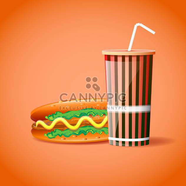 Vector illustration of plastic container with straw and hotdog on orange background - Free vector #129779
