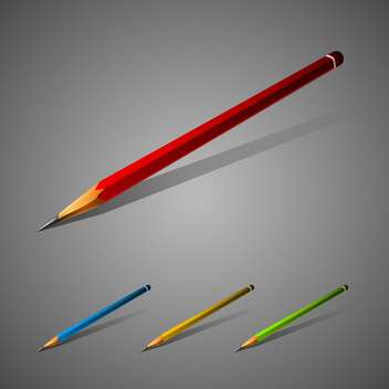 Set of vector colorful pencils on gray background - vector gratuit #129789