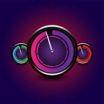 Vector set of speedometers on dark purple background - vector gratuit #129819