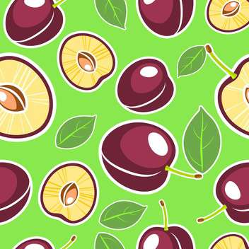 Vector green seamless background with plums and leaves - vector gratuit #129869