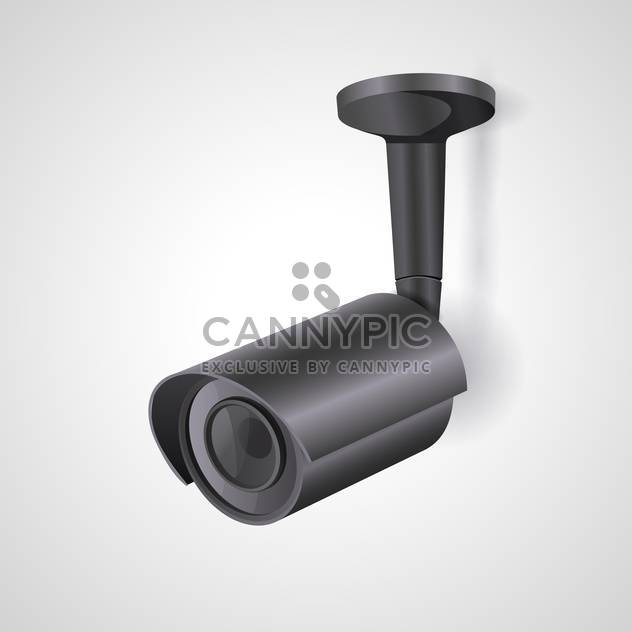 Vector illustration of a black surveillance camera isolated - Free vector #129939
