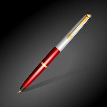 metallic ballpoint pen on dark background - vector #129949 gratis