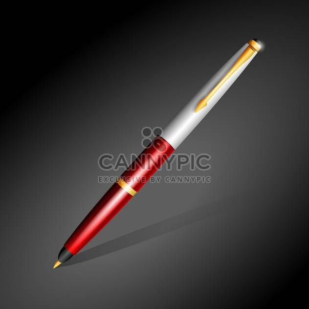 metallic ballpoint pen on dark background - Free vector #129949