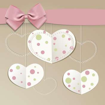 Holiday vector background with hearts and pink bow - Free vector #129959