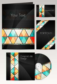 Professional corporate identity kit or business kit with artistic abstract effect - Free vector #129969