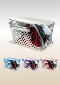 Vector set of baskets with clothes - vector gratuit #129979