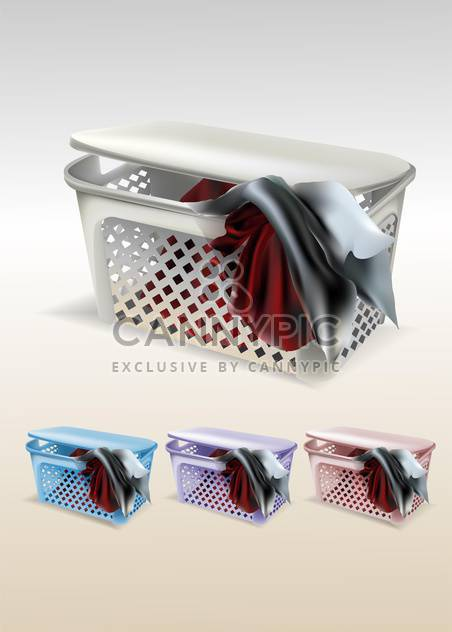Vector set of baskets with clothes - Free vector #129979
