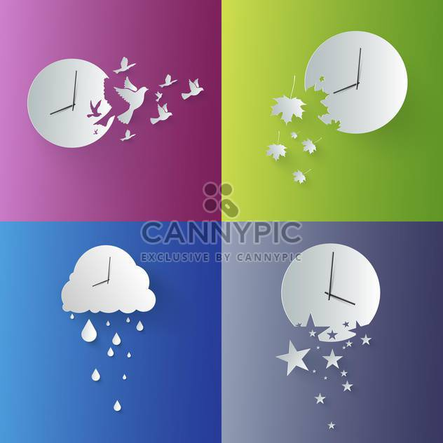 Vector set of wall clocks - Free vector #130089