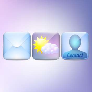 Mobile phone icons on purple background - vector gratuit #130099
