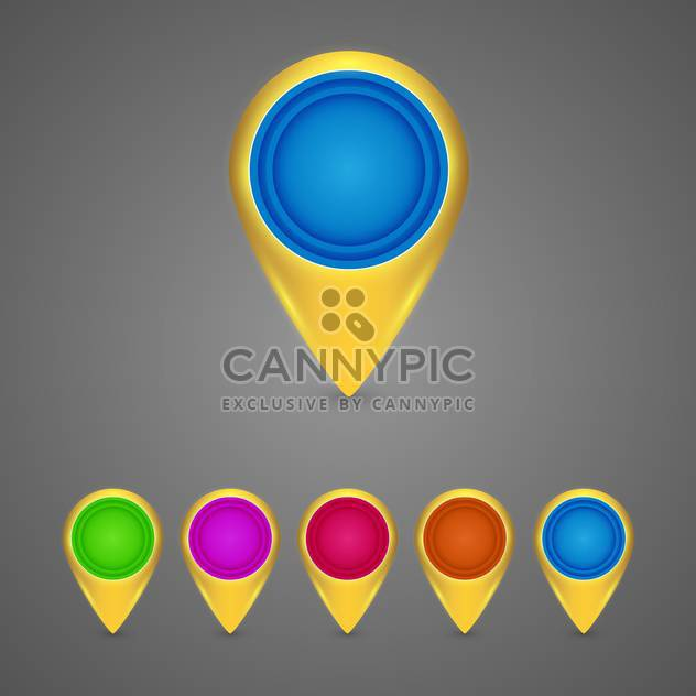 Set of round color map pointers on grey background - Free vector #130149