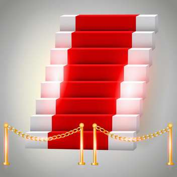 Vector illustration of red carpet on stairs - Free vector #130179