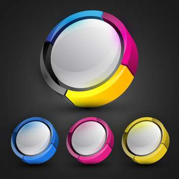 Black background with colorful round banners - бесплатный vector #130229