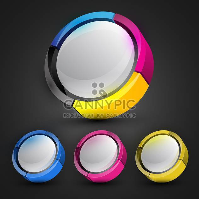 Black background with colorful round banners - Free vector #130229