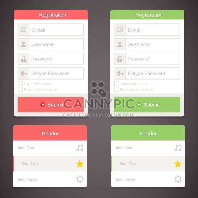 web registration form set - Free vector #130289
