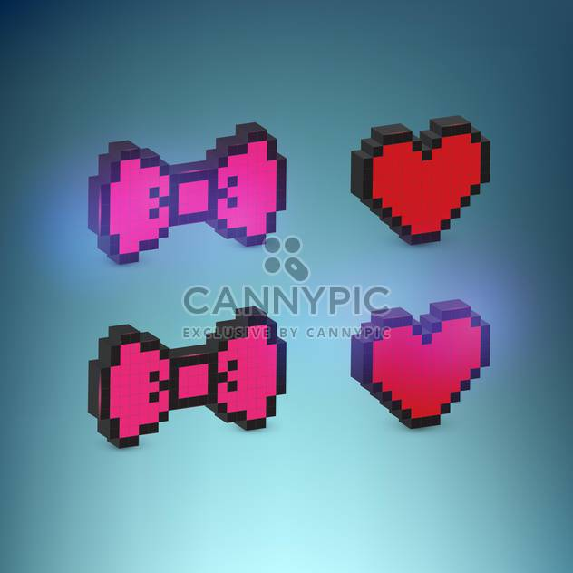 heart and bow set vector illustration - Free vector #130299