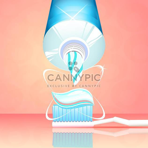 vector toothbrush with toothpaste and tube - Free vector #130309
