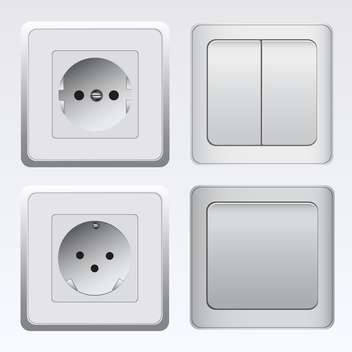 Set with white switches and sockets - vector #130389 gratis