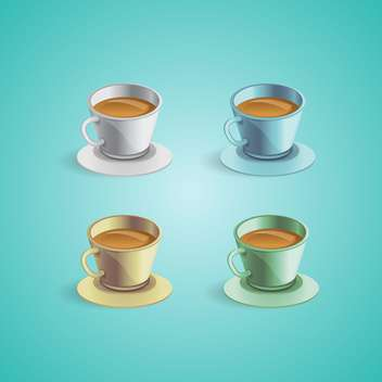 Set with vector coffee cups - vector gratuit #130449