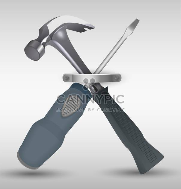 hammer and screwdriver vector illustration - Free vector #130499