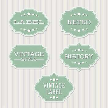 Vector vintage retro green labels on lines background - бесплатный vector #130539