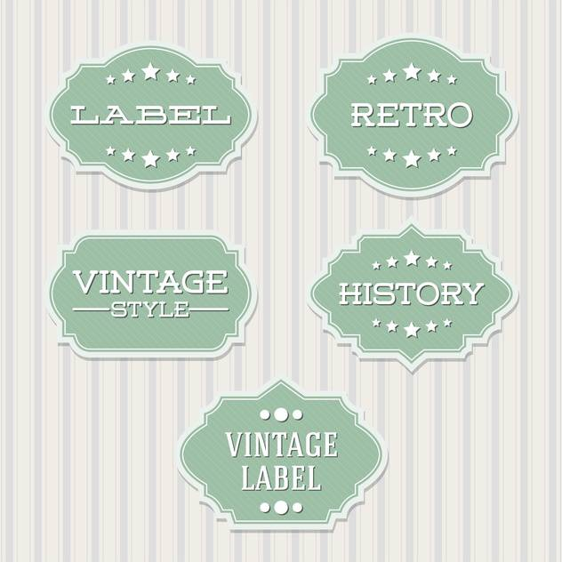 Vector vintage retro green labels on lines background - Free vector #130539