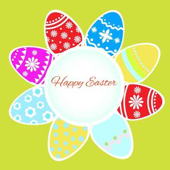 Vector Happy Easter greeting card with eggs - Free vector #130559