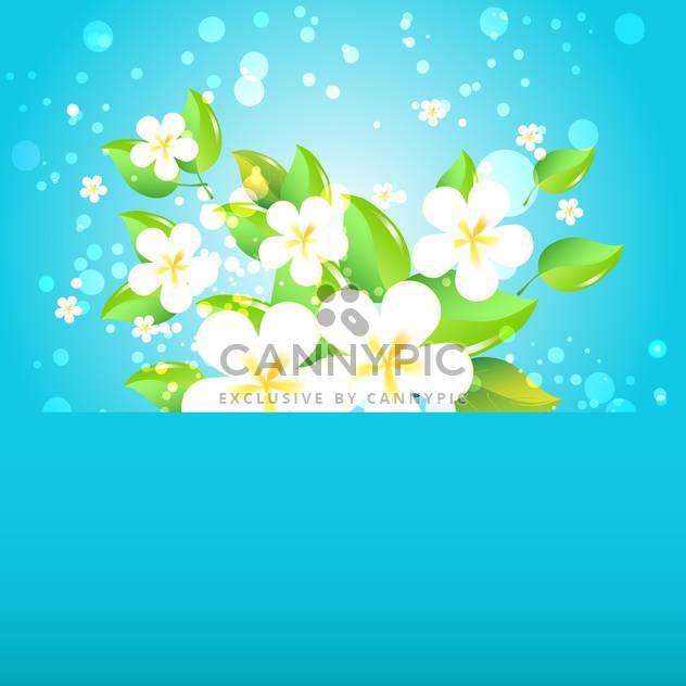 Grußkarte mit Blumen auf blauem Hintergrund und Text-Platz - Free vector #130569
