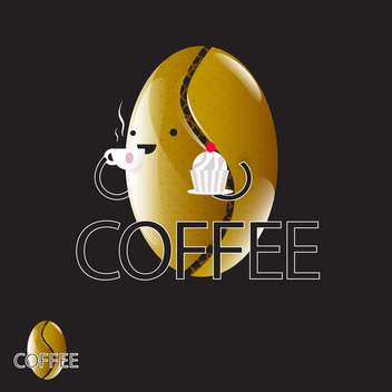 vector illustration of cartoon coffee bean on black background - Free vector #130639