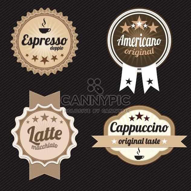 rund geformte Kaffee Etiketten und Abzeichen auf schwarzem Hintergrund - Free vector #130689