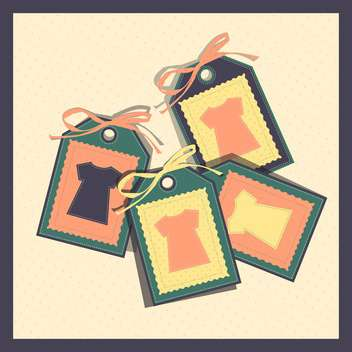 vector illustration of paper tags with t-shirts on beige background - Free vector #130729