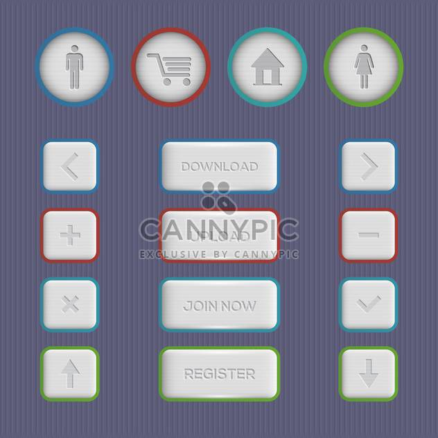 web buttons set on grey background - Free vector #130759