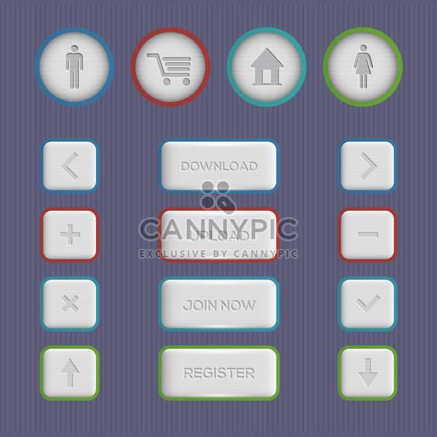 Web-Schaltflächen, die auf grauen Hintergrund festlegen - Kostenloses vector #130759