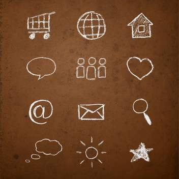 Vector set of web icons on chalk board - Free vector #130909