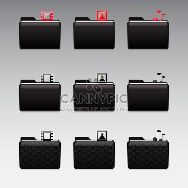 Multimedia-Symbole festgelegt, Foto und Video und Musik - Kostenloses vector #130919