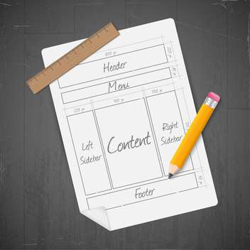 site layout icon with paper, ruler and pencil - Kostenloses vector #130969