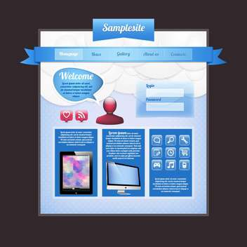 Website web design elements blue template - Free vector #130989