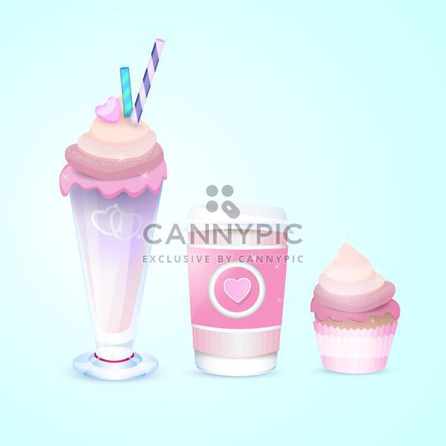 Different vector ice-cream on blue background - Free vector #131089
