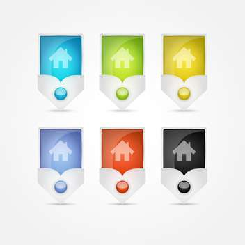 Small houses vector icons on white background - vector gratuit #131109