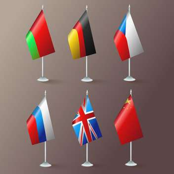 World flags vector set on brown background - vector gratuit #131129