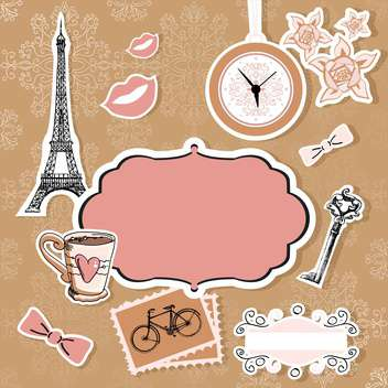 Vector set of Paris symbols - vector gratuit #131179