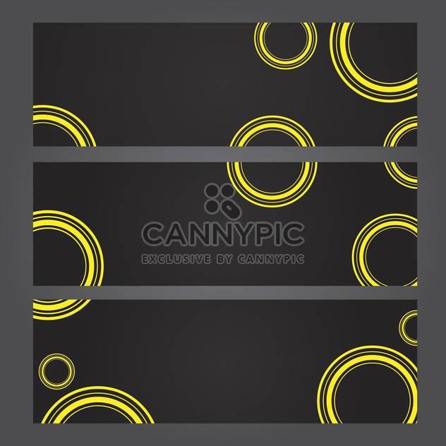 Eingestellt von Bannern mit gelbe Kreise auf schwarzem Hintergrund - Kostenloses vector #131339
