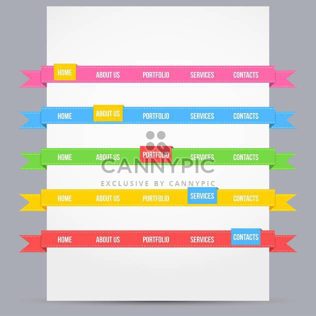 Web design template elements with icons set - Free vector #131399