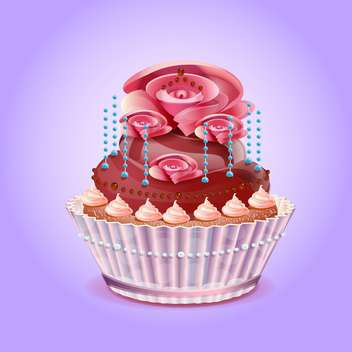 Cute and tasty birthday cake illustration - бесплатный vector #131539