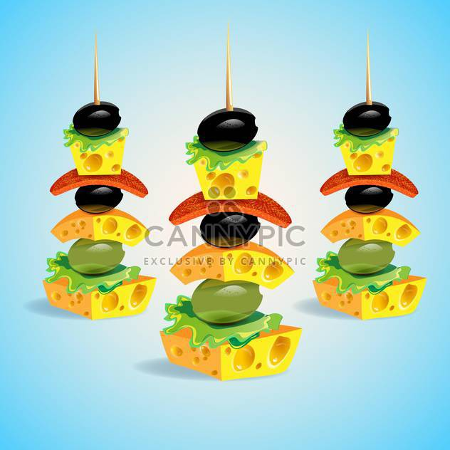 Vector canapes illustration on blue background - Free vector #131589